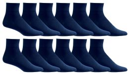 Men's Loose Fit NoN-Binding Soft Cotton Diabetic Quarter Ankle Socks,size 10-13 Navy