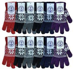 Yacht & Smith Womens Warm And Stretchy Snow Flake Print Winter Gloves 12 pack
