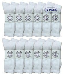 Yacht & Smith Wholesale Bulk Womens Crew Socks, Cotton Sport Athletic Socks - 9-11 - White - 12 Packs 12 pack