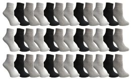 Yacht & Smith Women's Assorted Color Quarter Ankle Sports Socks, Size 9-11 36 pack
