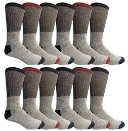 Yacht & Smith Mens Cotton Thermal Crew Socks, Cold Weather Boot Sock Shoe Size 8-12 12 pack