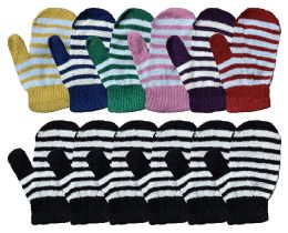 Yacht & Smith Kids Striped Mitten With Stretch Cuff Ages 2-8 12 pack