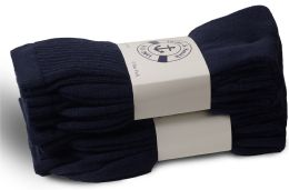 Yacht & Smith Women's Cotton Terry Cushioned Crew Socks, Size 9-11, Navy Bulk Packs