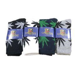 Crew Socks 10-13 [Marijuana Leaves] 24 pack