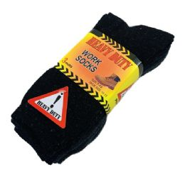 Heavy Duty Work Socks 10-13 [BLK/GRY/NVY] 24 pack