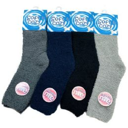 Men's Soft & Cozy Fuzzy Socks [Solid Colors] 24 pack