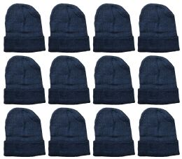 Yacht & Smith Unisex Winter Warm Beanie Hats In Solid Black