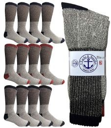 Yacht & Smith Mens Cotton Thermal Crew Socks, Cold Weather Boot Sock Shoe Size 8-12 (12) 12 pack