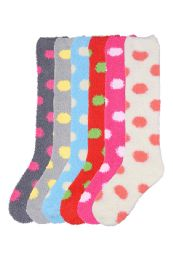 Womens Polka Dot Print Fuzzy Plush Knee High Socks 120 pack