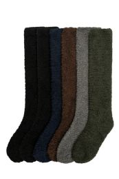 Womens Solid Dark Color Soft Touch Fuzzy Knee High Socks 120 pack