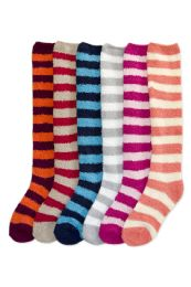 Womens Striped Fuzzy Plush Knee High Socks 120 pack