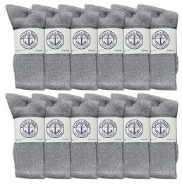 Yacht & Smith Mens Wholesale Bulk Cotton Socks, Athletic Sport Socks Shoe Size 8-12 (Gray, 12) 12 pack