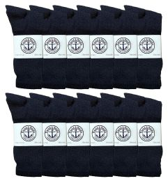 Yacht & Smith Mens Wholesale Bulk Cotton Socks, Athletic Sport Socks Shoe Size 8-12 (navy, 12) 12 pack