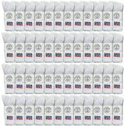 Yacht & Smith Mens Wholesale Bulk Crew Cotton Socks, Athletic Sport Socks Shoe Size 8-12 (White USA, 48) 48 pack
