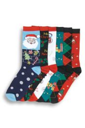 WOMEN'S CHRISTMAS PRINTED CREW SOCKS 180 pack