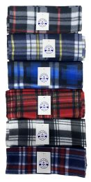 Yacht & Smith Unisex Warm Winter Plaid Fleece Scarfs Assorted Colors Size 60x12 36 pack