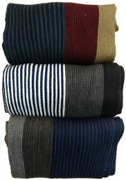 Yacht&Smith 3 Pack Mens Designer Winter Scarves, Stripe Patterned Neck Scarf - Price Per 3 15 pack