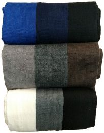Yacht&smith 3 Pack Mens Designer Winter Scarves, Stripe Patterned Neck Scarf Price Per 3