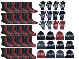 Yacht & Smith Womens 3 Piece Winter Care Set, Fleece Hat, Thermal Sock, Snow Flake Glove 180 pack