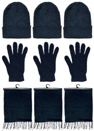 Yacht & Smith 3 Piece Winter Set, Hat Glove Fleece Scarf Unisex (Black, 3 Sets) 3 pack