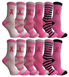 Yacht & Smith Pink Ribbon Breast Cancer Awareness Crew Socks For Women 12 Pairs