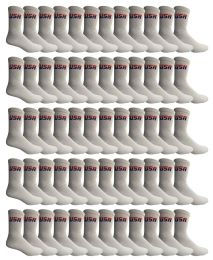 SOCKS'NBULK 60 Pairs Wholesale Bulk Sport Cotton Unisex Crew Socks, Ankle Socks, Value Deal (USA Mens White Crew) 60 pack