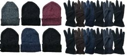 Yacht & Smith Men's Winter Care Set, Fleece Gloves And Winter Beanie Set 288 pack