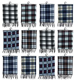 Yacht & Smith Unisex Warm Winter Plaid Fleece Scarfs Assorted Colors Size 60x12