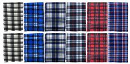 Yacht & Smith Unisex Warm Winter Plaid Fleece Scarfs Assorted Colors Size 60x12 Bulk Buy