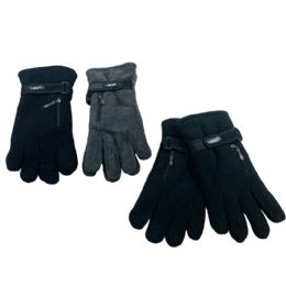Men's Extra Warm Fleece Gloves with Zipper Pocket 24 pack