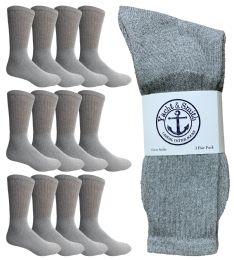 Yacht & Smith Mens King Size Crew Socks, Big And Tall Sports Athletic Socks, 13-16 (gray) 12 pack