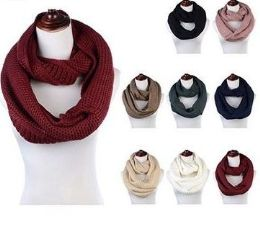 Women's Acrylic Winter Scarf Crochet Knit Tube Scarf Assorted Color 24 pack