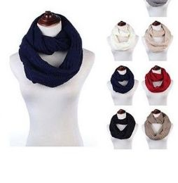 Womens Acrylic Winter Scarf Crochet Knit Tube Scarf Assorted Color 24 pack