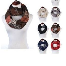 Womens Acrylic Winter Scarf With Pattern Tube Scarf Assorted Color 24 pack