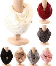 Women's Cable Knit Winter Infinity Scarf With Plus Lining Neck Warmer 48 pack