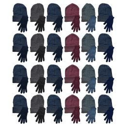 Yacht & Smith Mens Warm Winter Hats And Glove Set Assorted Colors 48 Pieces