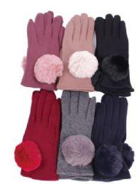 Women's Cotton Pom Pom Winter Glove 72 pack