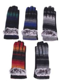 Women's Cotton Striped Winter Glove With Fur 72 pack