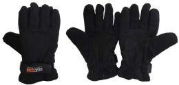 Lady's Black Fleece Winter Gloves 36 pack