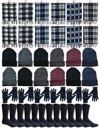 Yacht & Smith Wholesale Bulk Winter Care 4 Piece Set, Plaid Scarf, Beanie, Glove, Socks 48 pack
