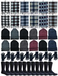 Winter Bundle Care Kit For Woman, 4 Piece - Hats Gloves Beanie Fleece Scarf Set In Assorted Colors 240 pack