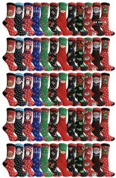 Yacht & Smith Christmas Printed, Fun Colorful Festive, Crew Socks 60 pack