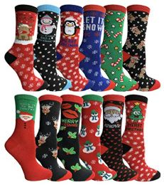 Yacht & Smith Christmas Holiday Crew Socks Assorted Holiday Design Size 9-11 120 pack
