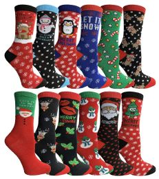 Yacht & Smith Christmas Holiday Crew Socks Assorted Holiday Design Size 9-11 360 pack