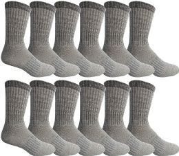 Yacht & Smith Wholesale Bulk Merino Wool Thermal Boot Socks (Mens/Assorted, 12) 12 pack