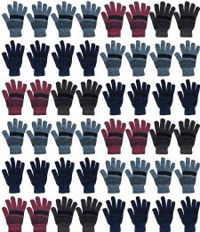Yacht & Smith 48 Pack Wholesale Bulk Winter Gloves Unisex (Stripe Gloves A) 48 pack