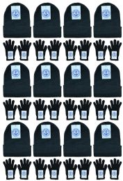 Yacht & Smith Unisex Warm Winter Hats And Glove Set Solid Black 24 Piece