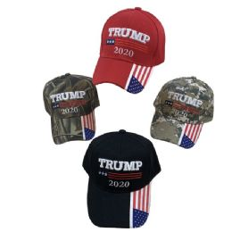 Trump 2020 Hat [Flag on Bill] Color/Camo 24 pack