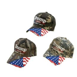 Camo TRUMP 2020 Hat Keep America Great w Flag Bill 24 pack
