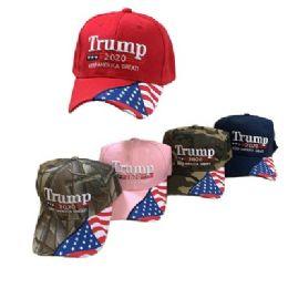 Trump 2020 Hat Keep America Great [Flag on Bill] 24 pack